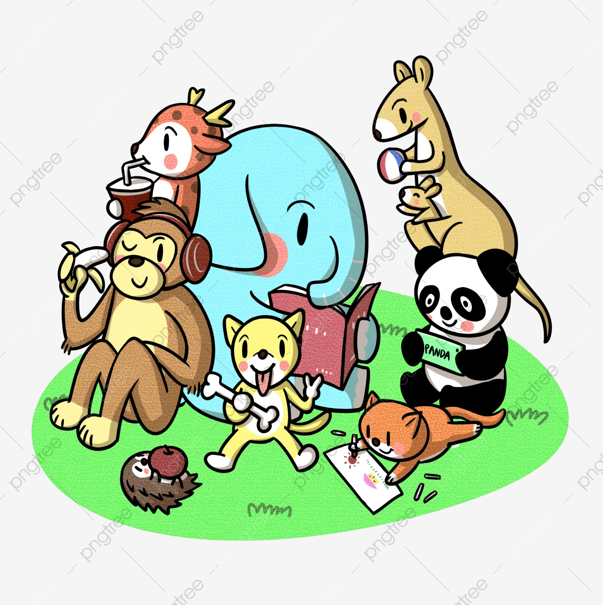 World Animal Day Animal Cartoon Cartoon Animals Animal World Animal Cartoon Grassland Png Transparent Clipart Image And Psd File For Free Download