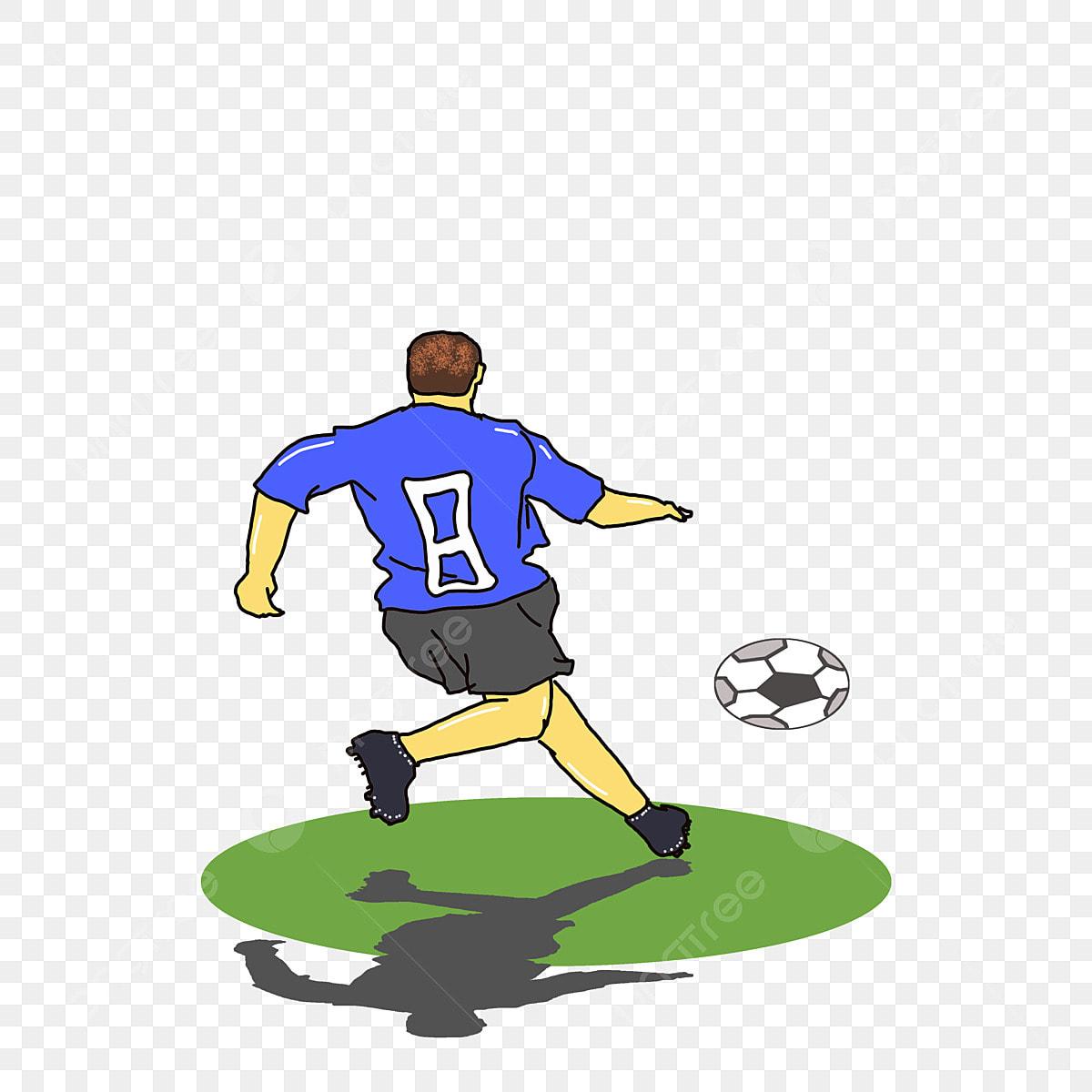 Weltcup Fussball Fussballspiel Karikaturhand Gezeichnet Tritt
