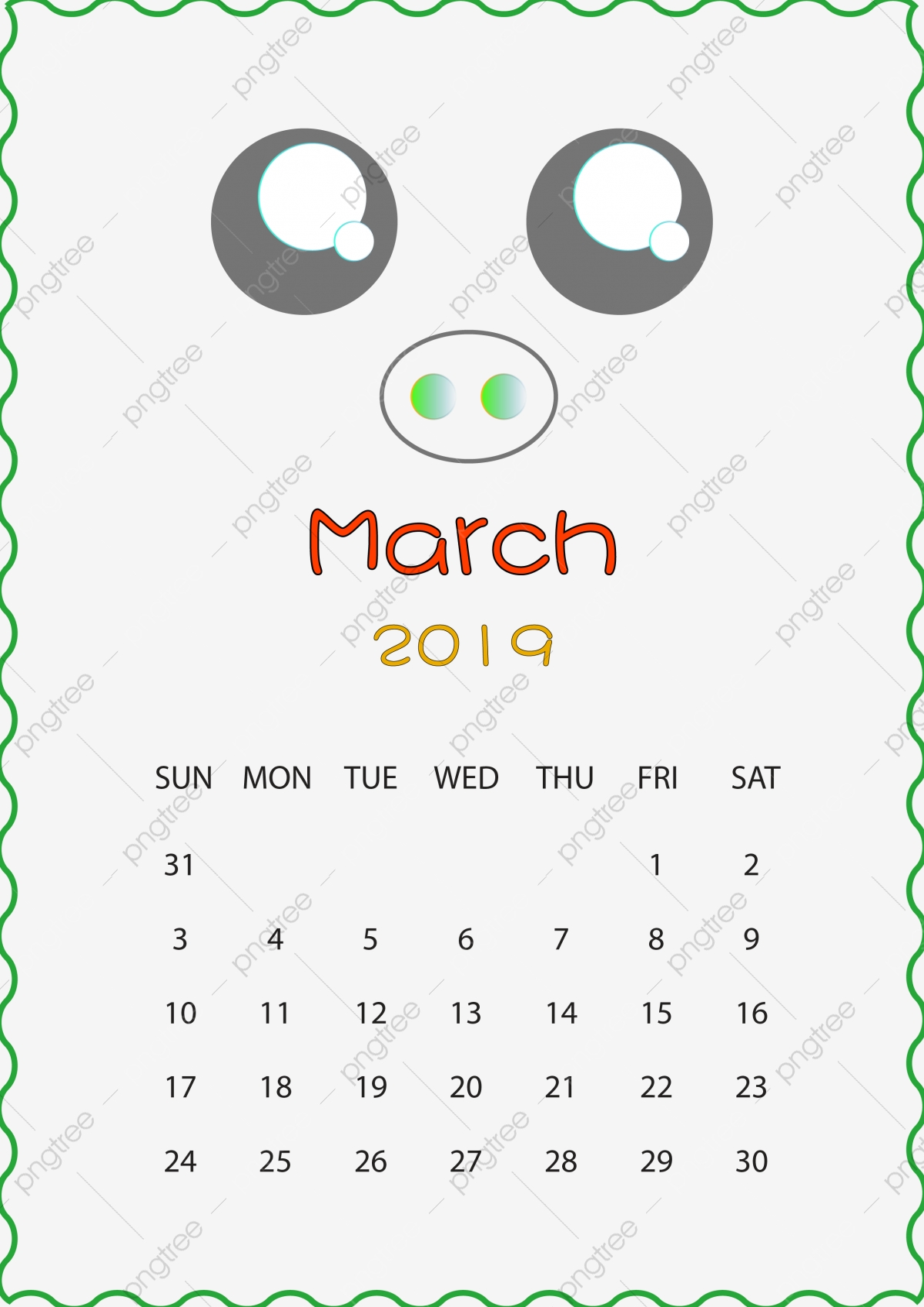 Calendario Dibujo Png.Ano Del Cerdo Calendario Dibujado A Mano De Dibujos Animados