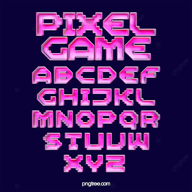 Color Fashion Gradient Game Card Pixel Alphabet Text