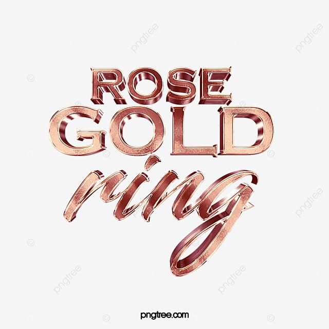 Fashion High-end Luxury Three-dimensional Rose Gold Art Word Design