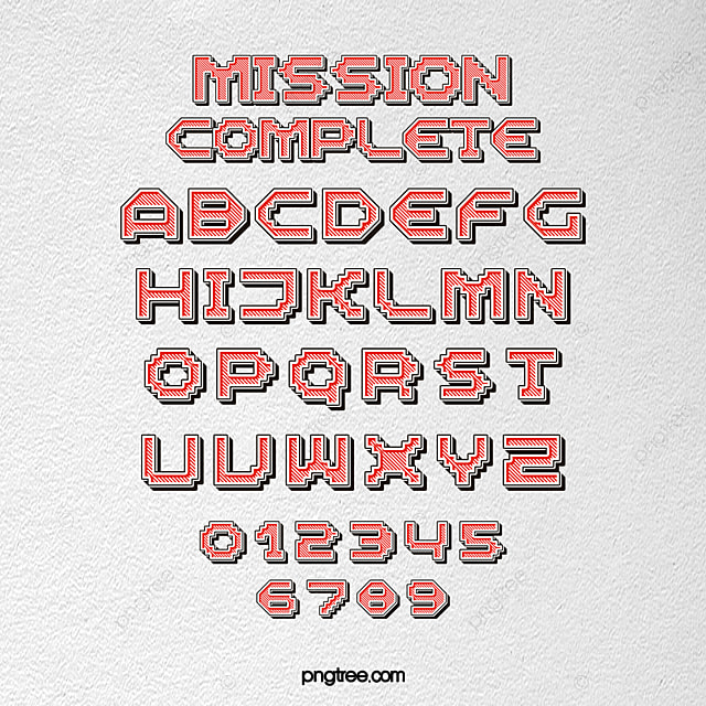 Fashion Stereo Effect Game Cartoon Pixel Alphabet Art Font