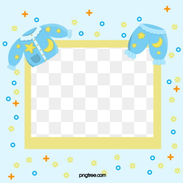 baby pajama style photo frame, Baby, Hand Painted, Pale Blue PNG and PSD