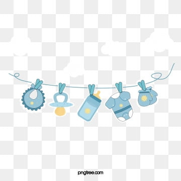 blue baby paper style pendant, Bib, Feeding Bottle, Baby PNG and PSD