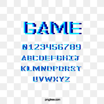 blue cartoon stereo pixel game alphabet Fonts
