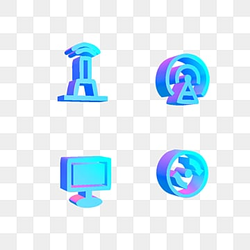 Blue purple Gradual 3D Stereo Communication Technological Icon, 3d, Gradient, Technology PNG and PSD