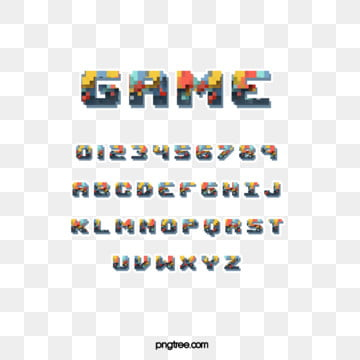 color cartoon pixel game alphabet Fonts