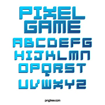 color gradient game style cartoon pixel alphabet Fonts