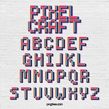 fashion color game cartoon pixel alphabet Fonts