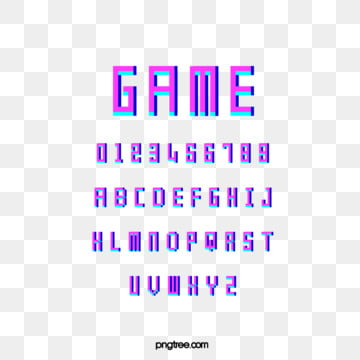 fluorescent cartoon pixel game alphabet Fonts
