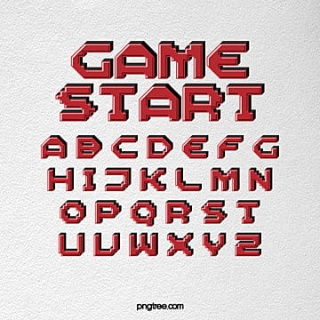 modern fashion 3d effect cartoon game pixel alphabet Fonts