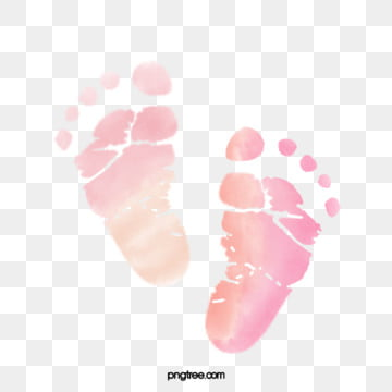 neonatal footprints stained with pink water and powder, Element, Lovely, Baby PNG and PSD