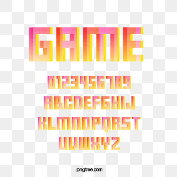 pink gradient cartoon pixel game alphabet Fonts