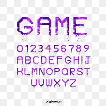 purple cartoon pixel game alphabet Fonts