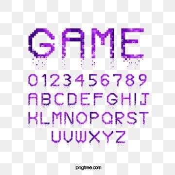 Purple Cartoon Pixel Game Alphabet Fonts