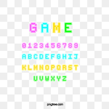 small fresh fluorescent cartoon pixel game alphabet Fonts