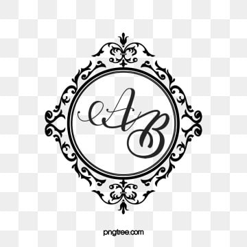 vintage wedding monograms, Monogram, Frame, Label Border PNG and PSD