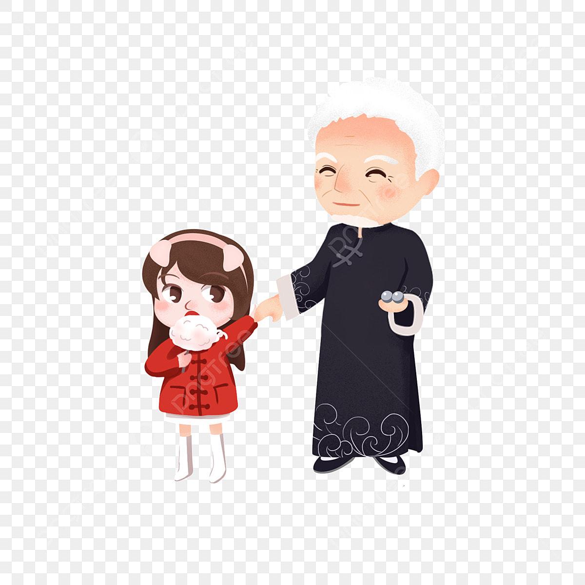 Grand Père Et Petite Fille Chinois Mangeant De La Guimauve