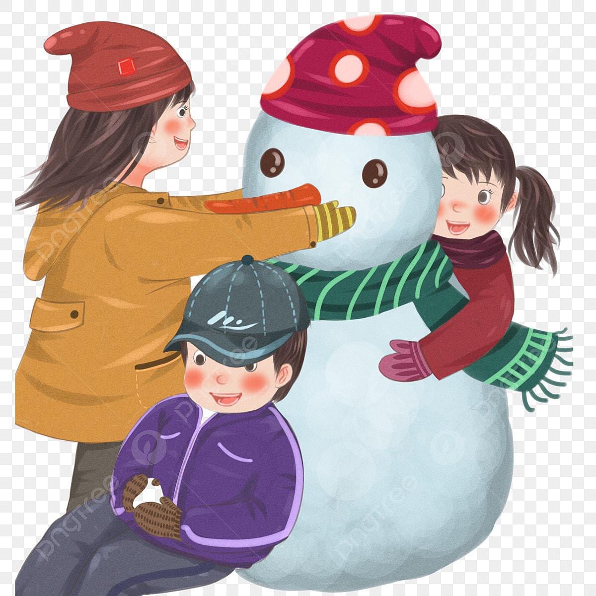 Children making snowman in the field - Download Free Vectors, Clipart  Graphics & Vector Art