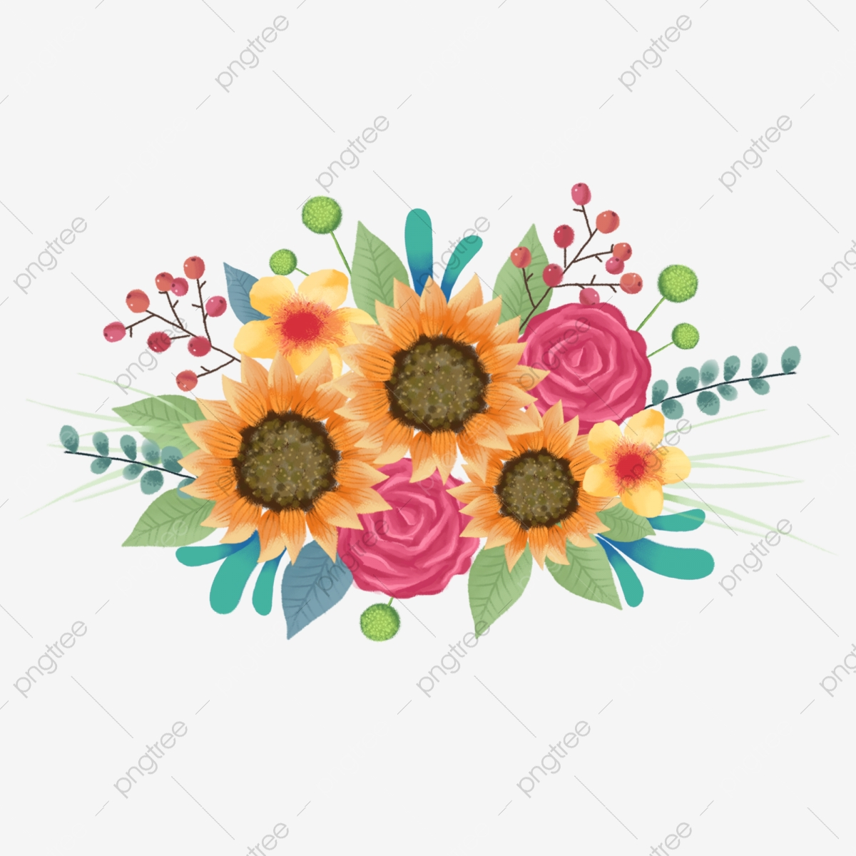 Hand Painted Fresh And Beautiful Cartoon Flower Plant Bouquet Hand Painted Flower Flowers Png Transparent Clipart Image And Psd File For Free Download