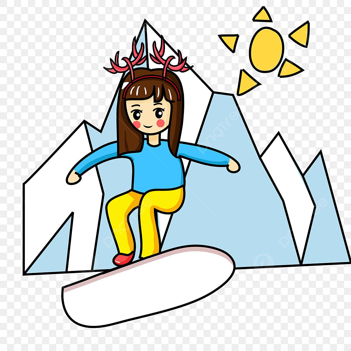 Elemen Ski Musim Sejuk Kartun Yang Mudah Berski Unsur