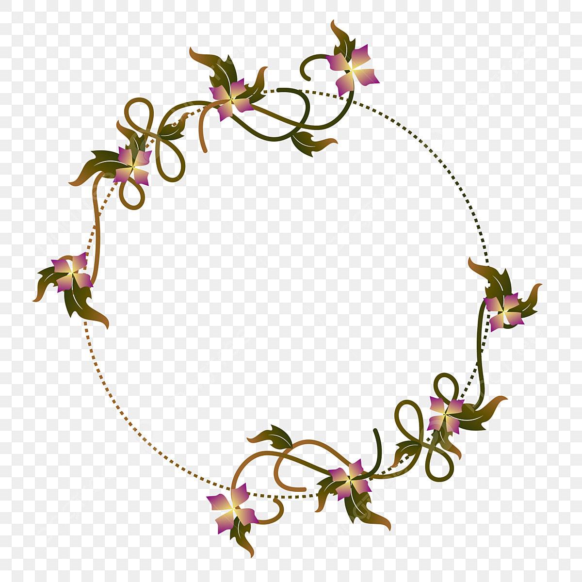 Simple Green Floral Vine Border Decorative Element Design Simple
