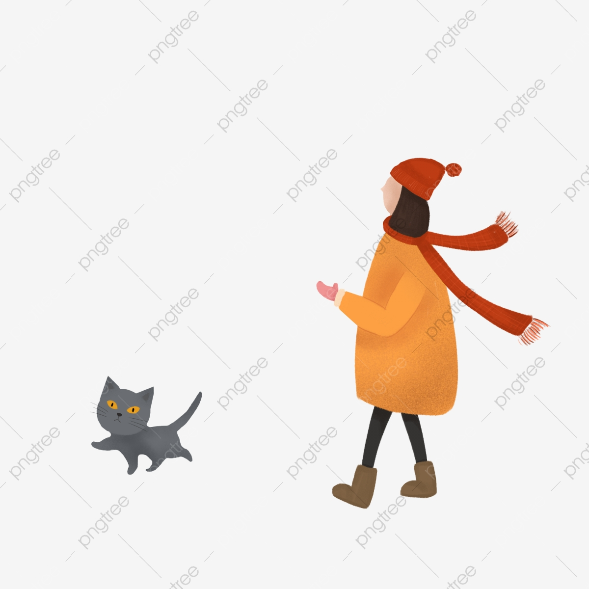 Walking Girl And Cat Hand Drawn Design Hand Painted Illustration Walking Png Transparent Clipart Image And Psd File For Free Download
