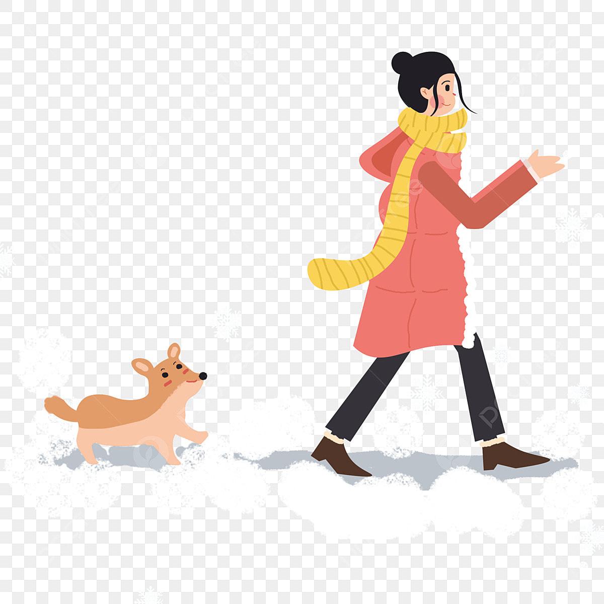 Fille Dhiver Et Chiot Marchant Dans La Neige Dessin Anime Beau