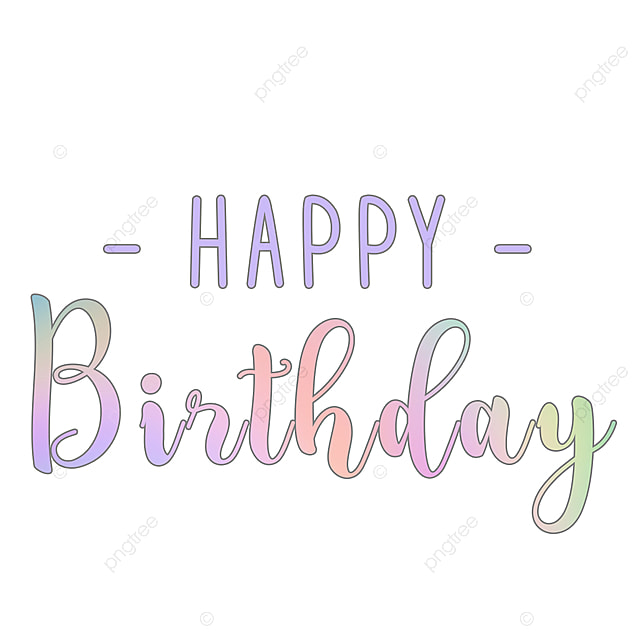 Art Font Simple Gradient Happy Birthday Text Effect PSD