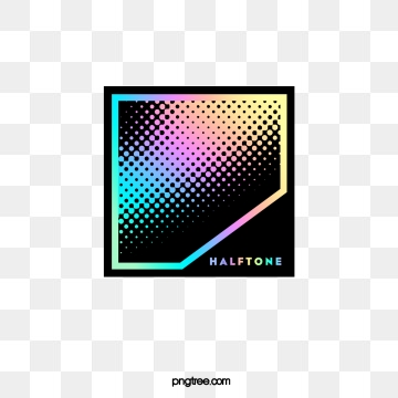 color halftone gradient geometric text box, Geometric, Color, Square PNG and PSD