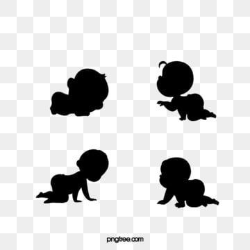 cute flat baby crawling black silhouette combination, Silhouette, Lovely, Baby PNG and PSD