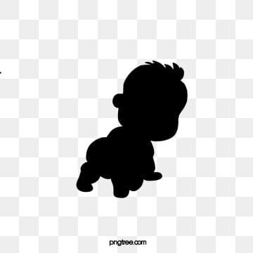 hand painted baby crawling black silhouette, Baby, Silhouette, Baby PNG and PSD