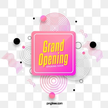 pink box label grand opening element, Geometric, Circular, Practice PNG and PSD