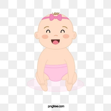 pink hairdressing baby girl sitting on her feet, Hair Ornament, Sit Upright, Baby Girl PNG and PSD