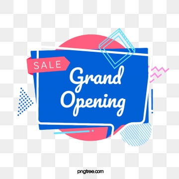 red and blue geometric bubble label grand opening element, Triangle, Geometric, Circular PNG and PSD