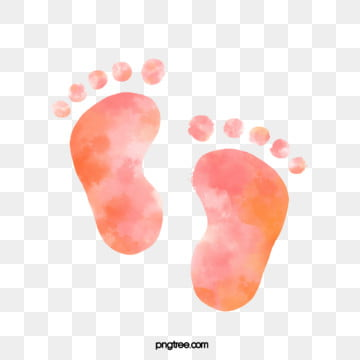 watercolor hand painted halo pink orange gradient infant footprints, Hand Painted, Newborn, Halo Dyeing PNG and PSD