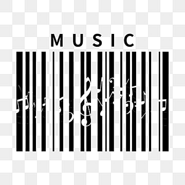 creative note bar code elements, Creative Barcode, Black-and-white Pattern, Musical Note Elements PNG and PSD