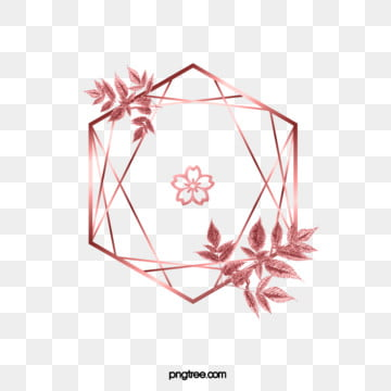 elegant deluxe rose gold geometry cherry leaf frame, Geometric, Luxurious, Leaf PNG and PSD