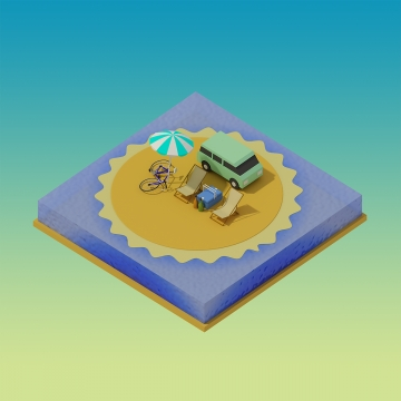 isometric camping on the beach, Isometric, Illustration, Design PNG and PSD