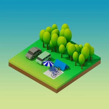 isometric forest camping, Isometric, Illustration, Design PNG and PSD