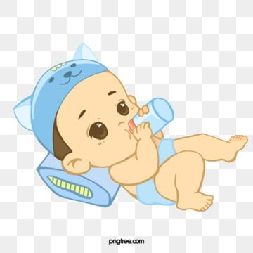 blue cartoon hand bottle baby drinking, Cartoon, Lovely, Drink Milk PNG and PSD