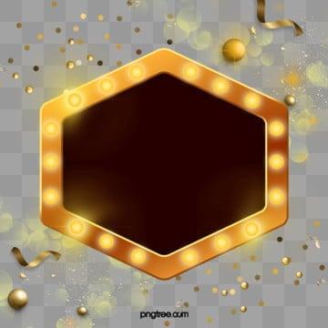 Fashion Golden Neon Lantern, Coloured Ribbon, Fashion, Light Board PNG and PSD