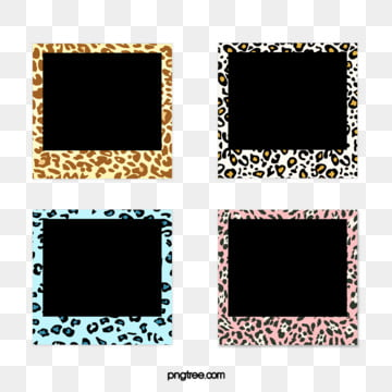 fashion hand painted color leopard pattern polaroid paper border, Cartoon, Graphic, Polaroid PNG and PSD