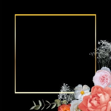 golden floral frame, Floral Frame, Rose, Frame PNG and PSD