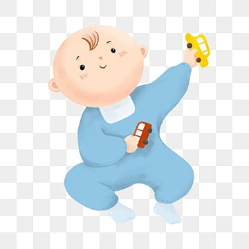 hand painted cartoon baby sitting playing with car toys, Children, Cartoon, Lovely PNG and PSD