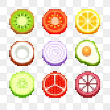 mosaic pixel fruit, Pixel, Coconut, Cherry PNG and PSD