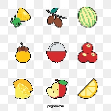 mosaic pixel style fruit decoration elements, Pixel, Element, Cartoon PNG and PSD