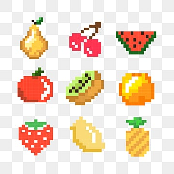 mosaic style cute cartoon color pixel fruit, Pixel, Color, Fruits PNG and PSD