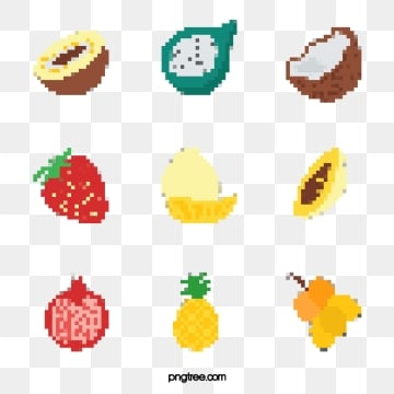simple cartoon mosaic pixel style fruit elements, Element, Cartoon, Abstract PNG and PSD