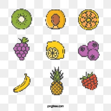simple cartoon pixel style mosaic fruit elements, Pixel, Cartoon, Abstract PNG and PSD
